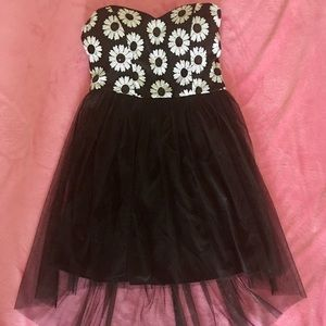 Black & White Sequin Flower High-Low Dress